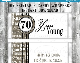 70th Birthday Espresso Party Favors Hershey's Candy Bar Wrappers Printable DIY Instant Download