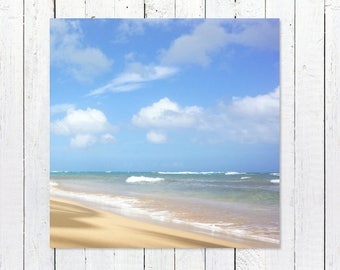 Beach Photography Prints | Beach Photography Art | Coastal Wall Art | Turquoise Ocean Blue Sky Clouds Golden Sand Loquillo Beach Puerto Rico