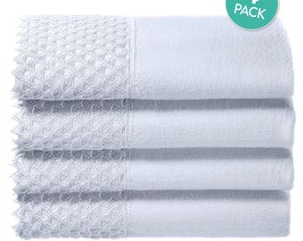 Cotton Velour Fingertip Towel, 4 Piece Set, 11 by 18-Inch, White  Creative Scents
