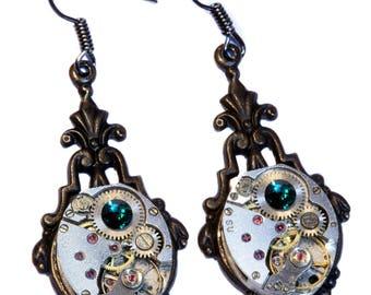 Steampunk Earrings - Emerald Green Swarovski Crystal