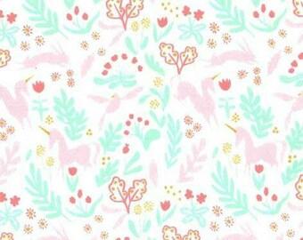 Minky Fabric - Unicorn Fabric - Michael Miller Minky Fabric by the Yard - Magical Folk, Sarah Jane Magic - Nursery Fabric - Baby Soft Fabric