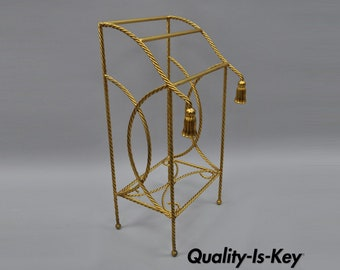 Vintage Italian Hollywood Regency Gold Gilt Iron Rope Tassel Towel Rack Tole Metal