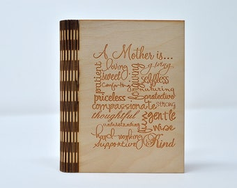 Laser Cut and Engraved Notebook - A Mother is... - NBC-002