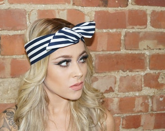 Navy Blue Stripe wired Rockabilly Pin up Headband