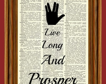 Star Trek (Live Long and Prosper) Upcycled Dictionary Art Print Poster Quote