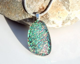 Green and Russet Organic Shape Pendant, Dichroic Fused Glass Jewellery, Art Glass Necklace, Spring Season Jewellery