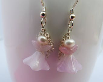 tiny pink angels with sterling silver hair earrings