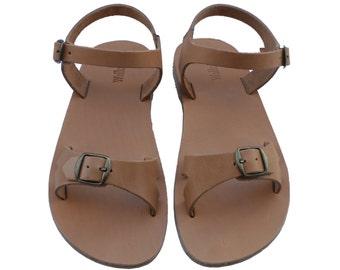 New - Caramel Billa Leather Sandals For Men & Women - Handmade Sandals, Leather Flats, Leather Flip Flops, Unisex Sandals, Brown Sandals