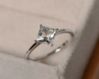 White topaz ring, princess cut, solitaire ring, sterling silver,November birthstone, promise ring