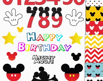 9 DiGITAL PAPERS + 13 CLIPARTS + NUMBERS - mickey mouse