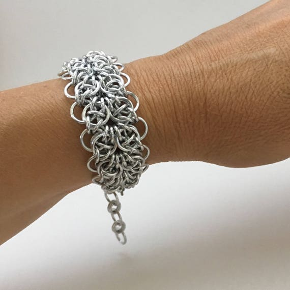 Celtic Strap Chainmaille Bracelet in Anodized Aluminum