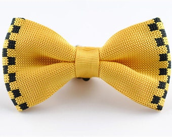 Yellow Knitted Bow Ties with Black Little Checks.Wedding Bow Ties.Mens Bowties.