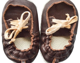 Genuine Leather Baby Moccasins    Little Man {Brown}