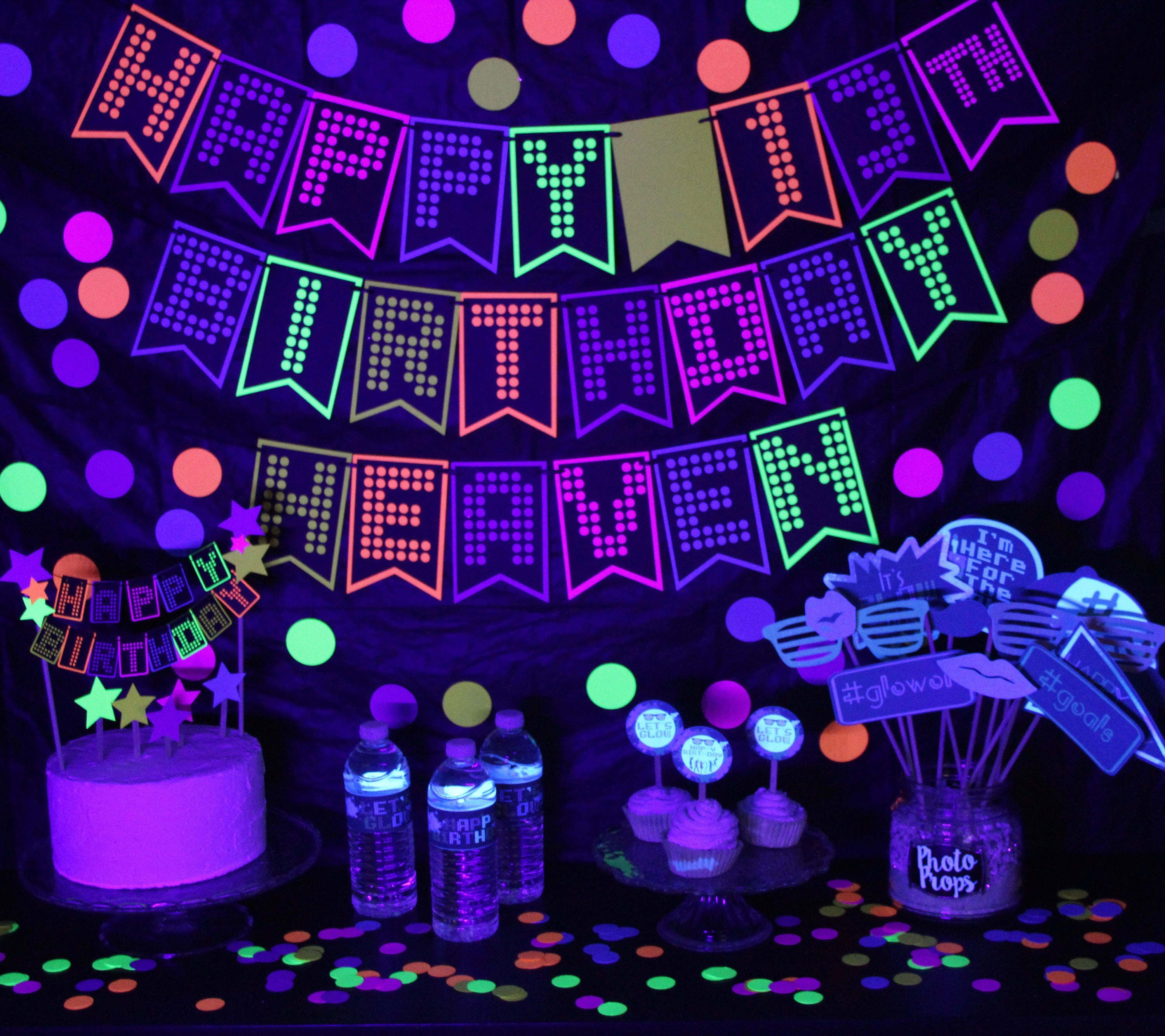 Glow party banner glow party glow party decor glow in - Glow in the dark table ...