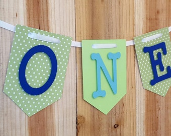 Green Pollka Dot & Lime Green High Chair Banner, Happy Birthday Banner, One Banner, I Am One Banner, I Am Two Banner