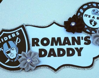 Baby Boy Raiders Football Themed Daddy To Be Baby Shower Badge