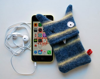 Blue and Yellow Stripey Monster iPhone or iPod Cozy - Upcycled - Mobile Case - Cell Phone Case - Phone Protection - Teen Tween Gift