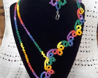 Bracelet and necklace multi color tatted cotton