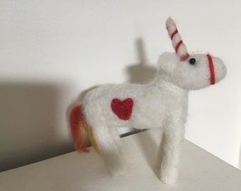 Unicorn needle  felted Sculpture Ready to Ship