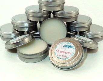 Strawberry Lip Balm - Unsweetened, Natural Lip Balm, Beeswax Lip Balm, Lip Balm Tin, Flavored Lip Balm, Shower Favors, Birthday Gift