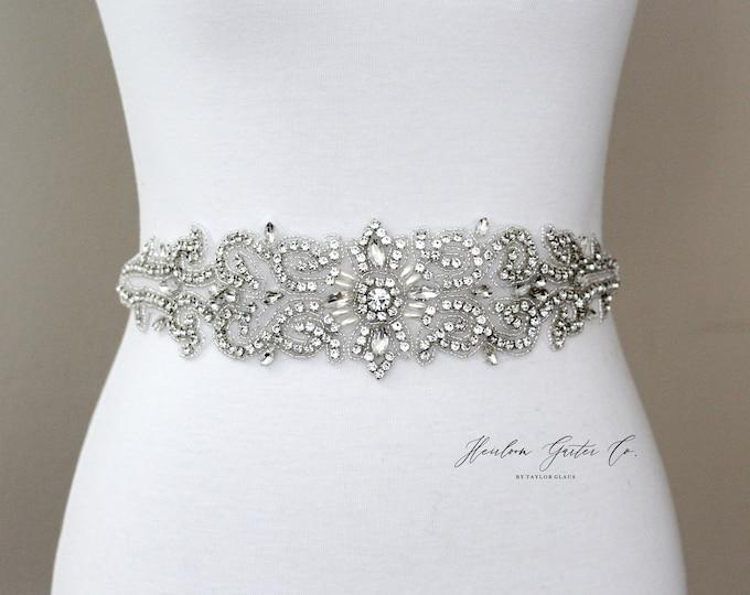 Bridal Belt, Bridal Sash, Beaded Bridal Sash, Wedding Belt, Wedding Sash Rhinestone Sash B54S