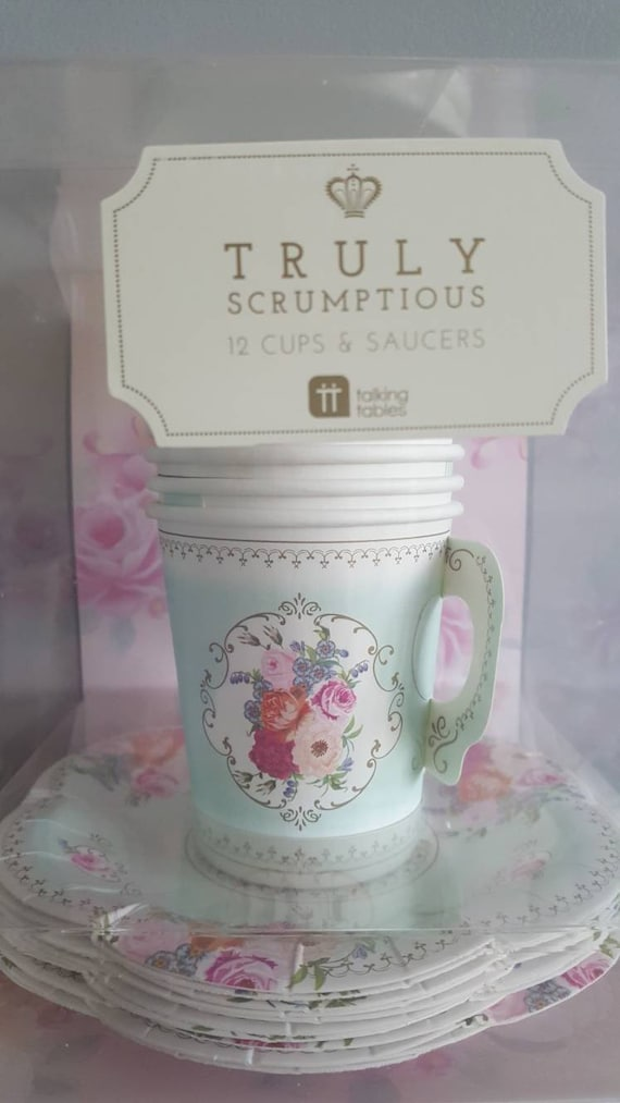 Truly scrumptious paper teacups with saucers x 12