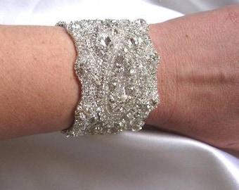 Wedding Bridal Beaded Bracelet Cuff