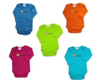 Organic Baby Bodysuit - Long Sleeve - Gender Neutral - Imaged 2 Sides - BEE HAPPY Front - BEE on Back - Be Happy - 5 Bright Colors