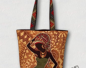 Tote bag suits or beach-strapless-African woman Silhouette green fern/shawl has fringes Ruby/orange blood/turquoise/yellow/green