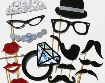 Party Photo Booth Set - 15 Piece Set - GLITTER Wedding PhotoBooth Props - Party Favor
