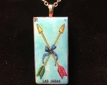 Las Jaras - The Arrows Mexican Lottery loteria Domino pendant necklace - mexicana
