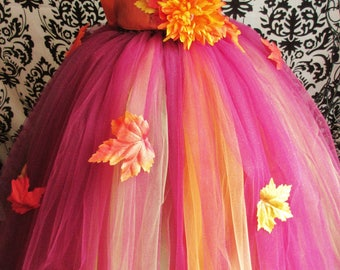 Autumn Theme Dress/Fall Wedding Dress/Autumn Colors Dress/Pumpkin Spice Dress/Thanksgiving Outfit/Girls' Dresses/Baby Girls Dress/Weddings