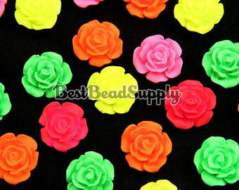 20 pcs 20mm Resin Flourescent Neon Mat Finished Rose Flower Cabochon Beads For Scrapbooking or Kawaii Phone Cases