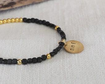 NEW BRACELET, Mother's Day gift, hematite, brass, charm, bracelet, gift for her