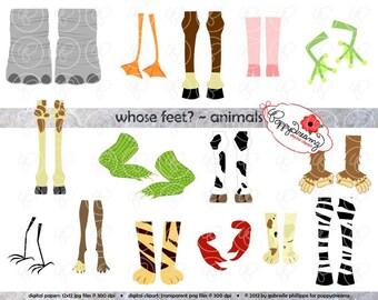 Whose Feet : Animal Digital Clipart Pack (300 dpi) Elephant Zebra Dog Cat Tiger Ape Crocodile Duck Horse Pig Bird Cow