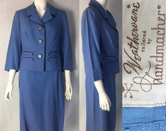 1950s suit in periwinkle blue