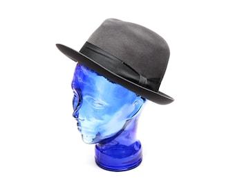 Vintage formal hat, grey plain felted wool fedora hat, Hilton registered Nagy Hüte Vienna, made in Austria, 1960s mens fashion accessory