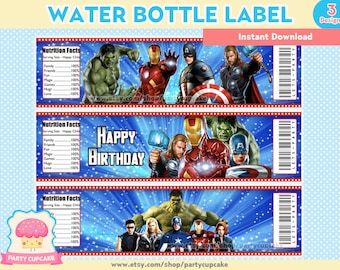 80% OFF SALE Water Bottle Label Avengers - 3 Designs - Instant Download - Holiday Party