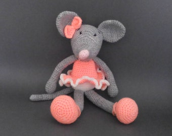 Knitted toy mouse, knitted mouse, crochet toy mouse, ballet toy, ballet toys, knit mouse, mouse toy, knitted toys, knitted mice, knit ballet