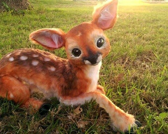Handmade Poseable Baby Fawn