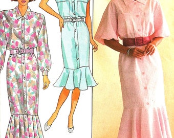1980s Dress Pattern Butterick Straight Dress Bottom Ruffle Pleats Vintage Sewing Women's Misses Size 14 Bust 36 Inches