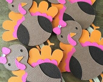 Girl Turkey Cupcake Toppes! Thanksgiving Birthday, Girl Turkey Cupcake Toppers