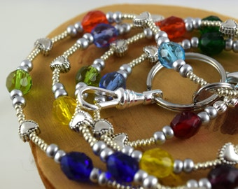 Simply Colorful multicolor beaded lanyard perfect for your work badge ID card dorm key whatever you need it for Back To School