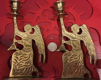 Vintage Brass Angel Candle Holders - a Pair