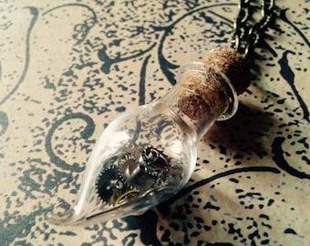 Steampunk necklace Vintage Bottle bottled Time gears