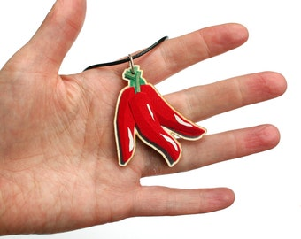 Red Chilli Peppers Necklace - Mexican Food Jewellery - Foodie Gifts - Hot Chillies Pendant - Cook's Necklace - Cooking Gifts