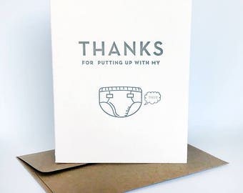 Letterpress Mother's Father's Day card - Putting Up With My Shit