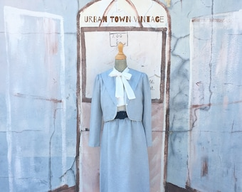 Vintage Light Blue Ascot Neck Dress/Jacket Set (Size Medium/Large)