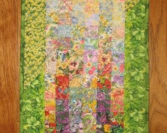 "Art Quilt, Sunny Summer Garden Fabric Quilted Wall Hanging 15 x 34"", Shabby Chic, Textile Art, Home Office Wall Art Decor Handmade"