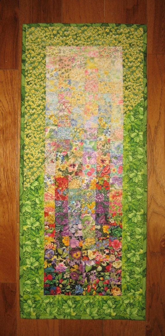 Art Quilt Sunny Summer Garden Fabric Quilted Wall Hanging 15